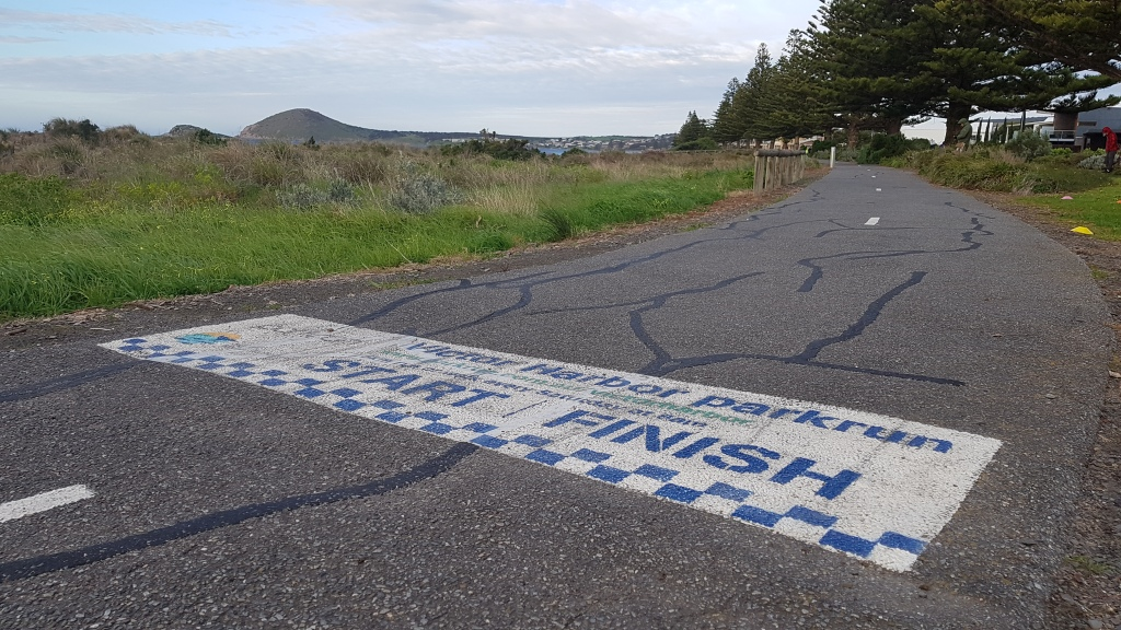 Photo of start/finish line painted on the concrete path